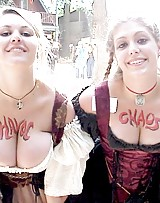 Girls showing cleavage and big tits